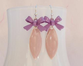 Enamel earrings bow turquoise pink purple