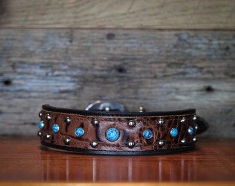 Leather Dog Collar // Black and Brandy Croc w/ Turquoise Stones
