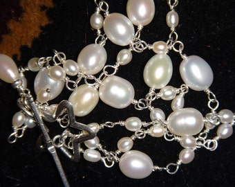 Freshwater Pearl with Sterling Silver Wire Wrapped Seed Pearls Star Toggle Pearl Dangles Multi Strand Bracelet