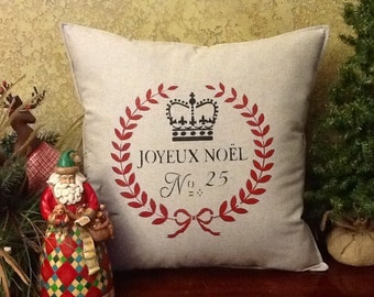 Joyeux Noel Stenciled Pillow