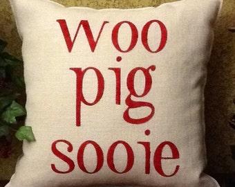WOO PIG SOOIE Burlap Stenciled Pillow