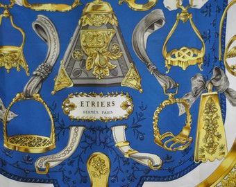 Vintage HERMES -ETRIERS- silk scarf , authentic scarf....