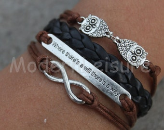 Owl jewlery Owl bracelet black bracelet braid braceletinfinity bracelet charm bracelet gift for women jewelry leather bracelet