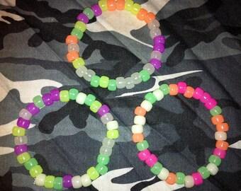 """8"""" Glow in the Dark Pony Bead Stretch Bracelets, Sets of Three"""