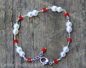 White Peanut Pearl and Red Crystal Bracelet