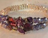 Purple and Champagne Crystal Bracelet - dual strand - stretch cord