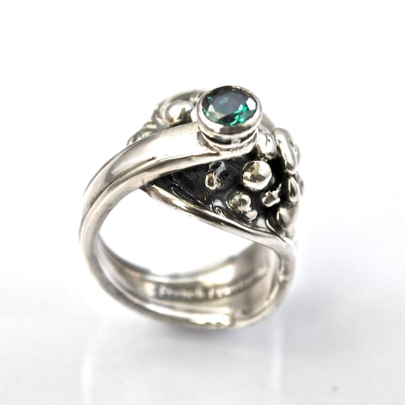 green topaz ring recycled silver jewelry unique sterling