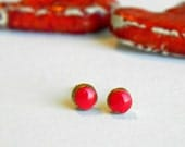 Gold and Red Mini Post Earrings Circle Porcelain Stud Earrings Hypoallergenic Round Ceramic Tiny Pottery Jewelry