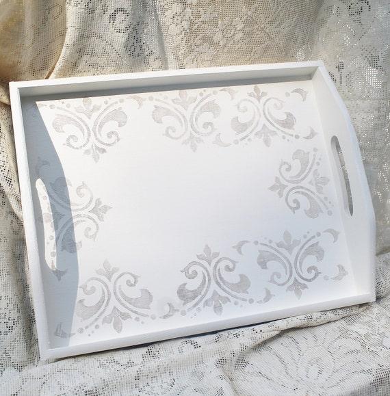 Reserved for michelle hand painted tray fleur de lis decor - Fleur de lis serving tray ...