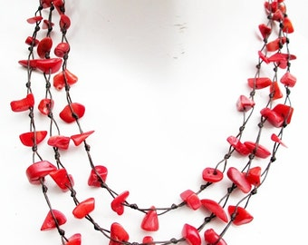 Nugget Red Coral Stone Multi Strand Layered Necklace