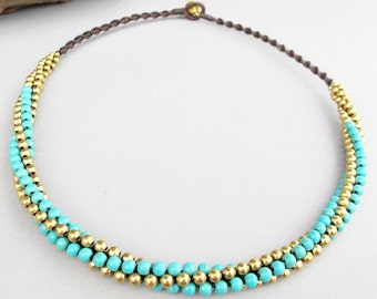 4mm Turquoise Beaded Woven Necklace with Brass Bead