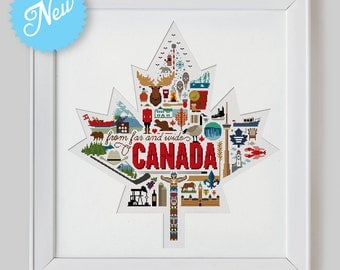 Canada Sampler Cross Stitch Pattern (Digital Format - PDF)