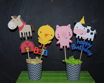 Farm Animals Birthday Centerpiece With Childs Age And Name...