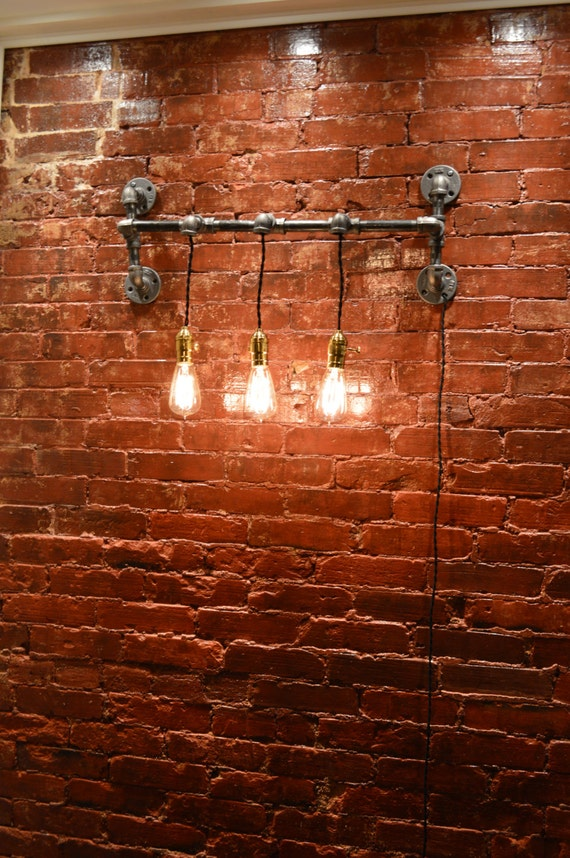 Industrial Triple Pendant Wall Light Edison By WestNinthVintage