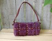 Purse, Vintage, Purple, Rabbit Fur, Suede, Rhinestone, Handbag