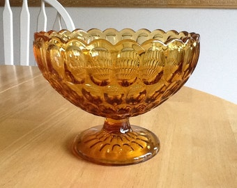 Amber Thumbprint Glass Compote