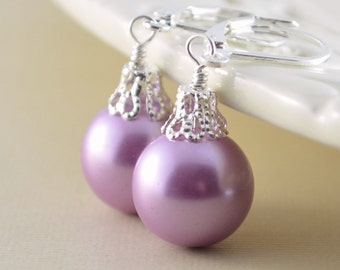 Lavender Earrings, Large Glass Pearls, Christmas Balls, Silver Plated Lever Earwires, Fun Holiday Jewelry