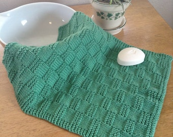 Knit Kitchen Towel Patterns : Kitchen Towel Knit Basket-weave Cotton Yarn Blue