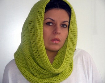 SALE Women Knitted Cowl in Lime Yellow/Green