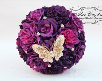 Brooch Bouquet Purple Wedding Classic Rose Elegance Custom Colors