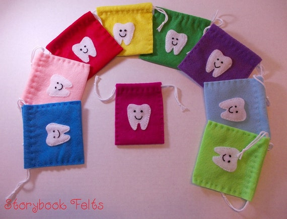 Felt Tooth Fairy Pouch Hand Sewn You Pick The Color