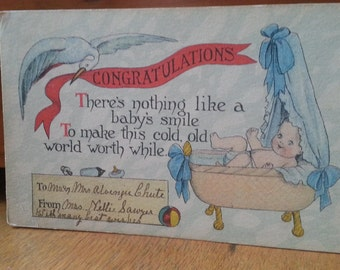 Vintage Birth Announcement Postcard