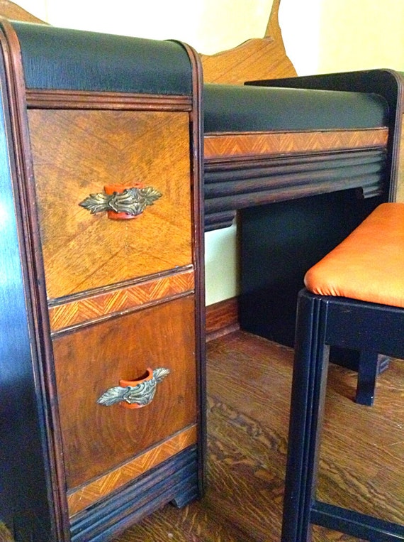 Upcycled 1930 S Art Deco Waterfall Top Vanity With Seat