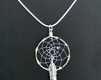 Silver Dream Catcher Necklace with Turquoise bead and feather, dreamcatcher necklace, dream catcher jewelry, Native American inspired