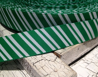 "7/8"" Diagonal CANDY Christmas GREEN and WHITE Grosgrain Ribbon sold by the yard"