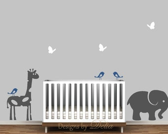 Nursery Wall Decal, Giraffe, Elephant, and Baby Elephant