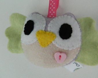 Cute Hanging Felt Little Owl with blue belly Home Decoration/Toy
