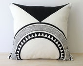 Cali Jet Black - Hand screen printed Eco cushions 40cm x 40cm