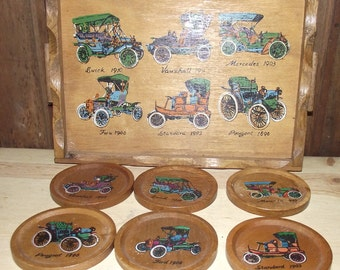 Antique Car Wooden Coaster Set