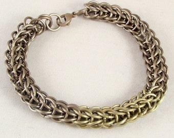 Bronze & Gold Titanium Chainmail Bracelet