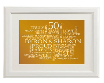 A4 Unframed Landscape Typographic Word Art Print - Personalised Golden 50th Wedding Anniversary - Perfect for that special occasion