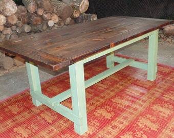 Harford Trestle Dining Table  Farmhouse  Reclaimed Wood  Custom   Handcrafted  Handmade Frederick Dining Table Chevron Trestle Farmhouse Reclaimed. Farmhouse Dining Table Made In Usa. Home Design Ideas