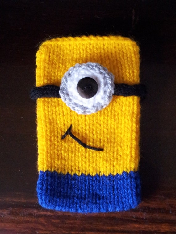 Despicable Me Knitting Patterns : Items similar to Despicable Me Minion Style Hand-knitted Mobile Phone Cover o...