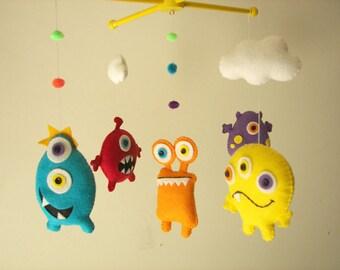 """Baby crib mobile, Monster mobile, Alien mobile, felt mobile, nursery mobile """"Scary Monster"""""""