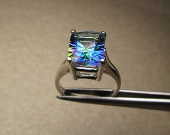 CLEARANCE  Mesmerizing Magic Blue Quartz Concave Cut Rectangle in Sterling Silver Ring