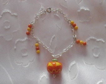 Handmade, Halloween Pumpkin Lampwork Glass Bead Silver Bracelet, Halloween, Holiday, Gift