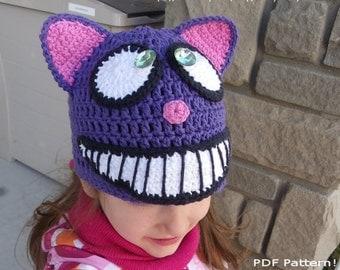 Cheshire Cat Hat, Crochet Hat Pattern, Animal Hat Pattern, Halloween Hat, Cat Hat, Alice in Wonderland, fall, child, baby, winter, beanie