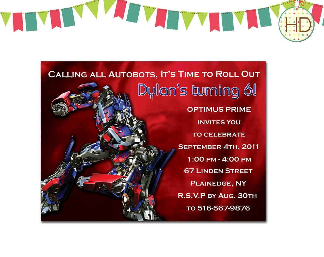 It is a photo of Sassy Transformer Birthday Invitations Printable Free