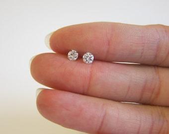 4mm CZ diamond Stud Earrings, silver stud earrings, Cartilage Earring, tiny stud earrings, Bridesmaid Gift, dainty earrings, fake diamond