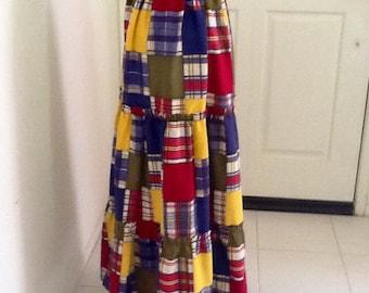 Vintage Patchwork Maxi Hippie Skirt 70s