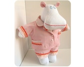 Stuffed animal hippo - Soft doll - Handmade toy for girl - Unique white plush hippo in pjs - Kids toy - Modern toy - Molly the Mippo - Mippoos