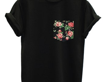 Red & Black Vintage Rose Floral Print Pocket Unisex T-shirt Top Tee Hipster Indie Swag Dope Hype Black White Mens Womens Cute Pocket Shirt