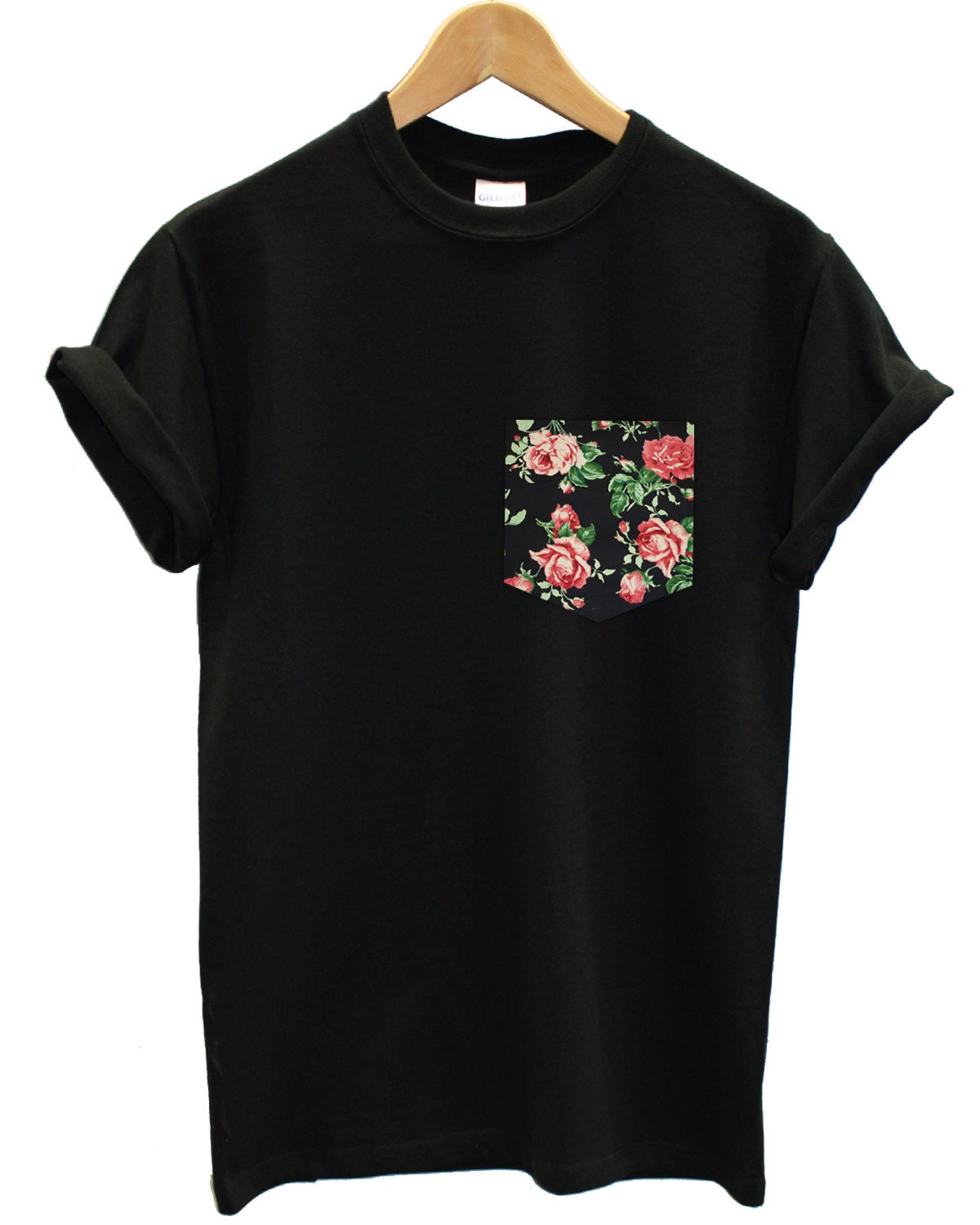 Real stitched red black vintage rose floral print pocket Womens black tee shirt