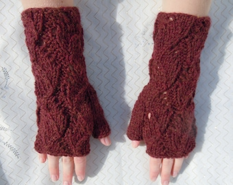 Hand Knit Chestnut Heather Color Fingerless Mittens/ Gloves - Wrist Warmers- One Size Fits All