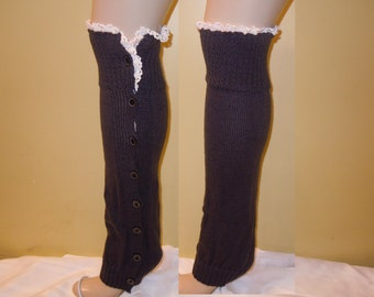 Leg Warmers with Button, Boot Socks, boot womens leg warmers Crochet Lace, Knitted Legwarmers, Dark Grey Color