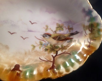 Antique luster ware bird German made soap dish
